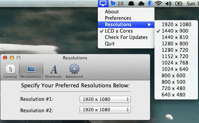 3 способа настроить дисплей в OS X Mountain Lion   Приложения QuickRes OS X Mountain Lion Display Menu Apple